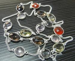 Designer silver Bezel Necklace