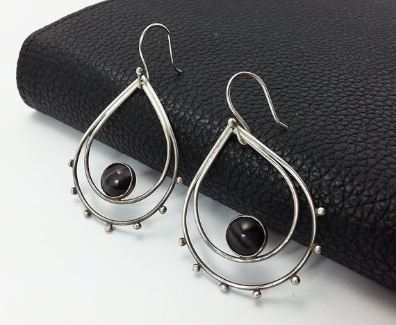 Double Teardrop Earrings, Sterling Silver Earrings, Dangle Earrings, Oxidized Silver Teardrop, Black Glass Cat's eye Cabochon