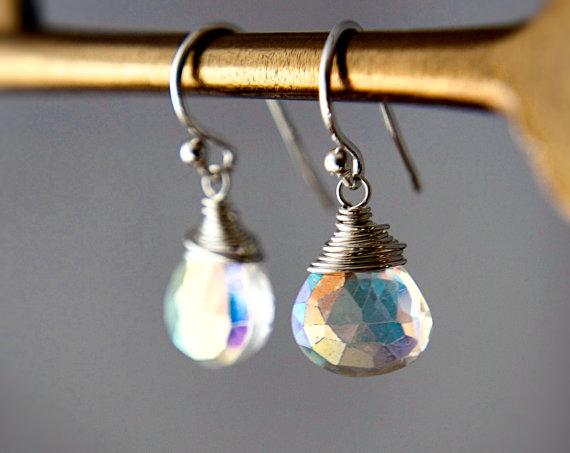 Drop Earrings, Gemstone Earrings, Mystic Quartz, Unicorn Tears, Sterling Silver, Wire Wrapped, Crystal Earrings, Crystal Jewelry