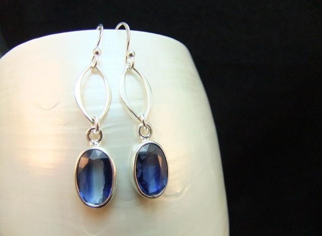 Drop Earrings, Rare Kyanite Gemstone, Sterling Silver, Inspired by Lake Cowlyd