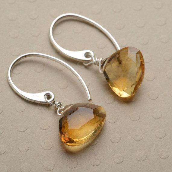 Earrings, Citrine Earrings, Golden Yellow Gemstone Earrings, Healing Gemstone Jewelry