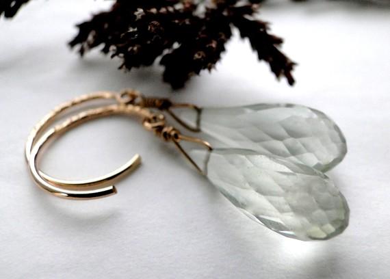 Earrings, Dangle Earrings, Green amethyst Faceted Gemstone Earrings on 14k Gold Filled Hoops