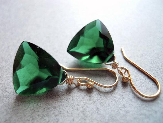 Emerald Trillion, Trillionaire Earrings, Emerald Green Quartz, Leverback Earrings, Geometric Earrings, Gemstone Earrings