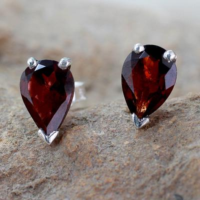 Fair Trade Garnet Stud Earrings