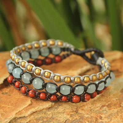 Festive colors come together in a cheerful handcrafted bracelet.