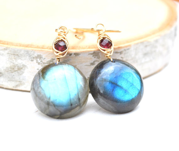 Garnet & Flashy Blue Labradorite Earrings, Gold Labradorite Dangle Earrings, AAA Blue Labradorite Buttons, Gemstone Earrings