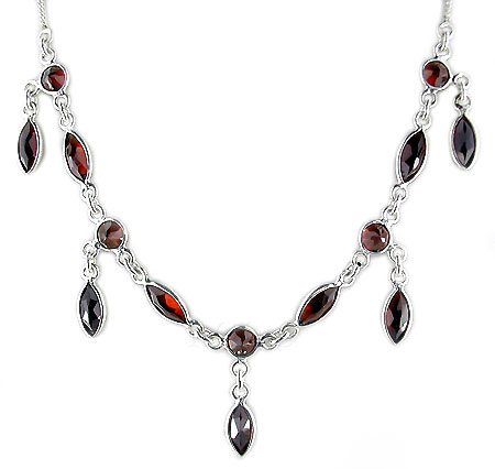 Garnet Cut Stone Silver Necklace