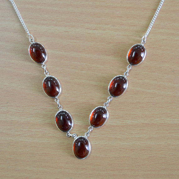 Garnet Necklace - bezel set necklace - Genuine Gemstone Necklace - Solid SIlver Necklace - Bib Necklace - Chain Adjustable