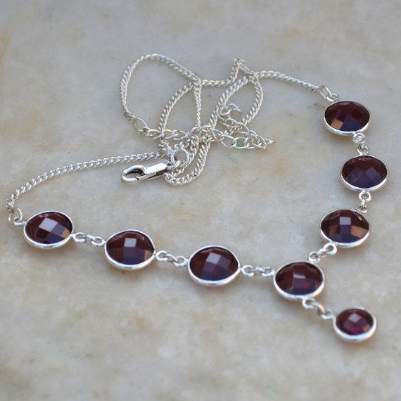 Garnet Necklace, bezel set necklace - Genuine Gemstone Necklace, Solid Silver Necklace, Bib Necklace, Handmade Garnet Gemstone Necklace