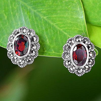 Garnet and Marcasite Stud Earrings