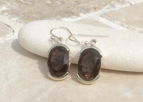 Gemstone Drop Earrings, Smokey Quartz Earrings, Gemstone Oval Stone Earrings, Brown Gemstone Earrings, Smokey Quartz Silver Earrings
