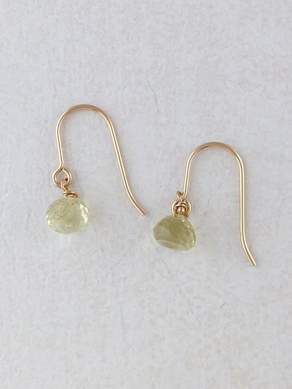 Gemstone Earrings. Lemon Quartz on your choice of 12k Gold Fill or Sterling Silver. Dangle and Drop. Dainty Earrings. Everyday gems