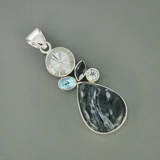 Genuine Durango Jasper, Clear Crystal, Blue Topaz Gemstone Pendant, 925 Sterling Silver Jewelry, Bezel Set Handmade Pendant Jewelry