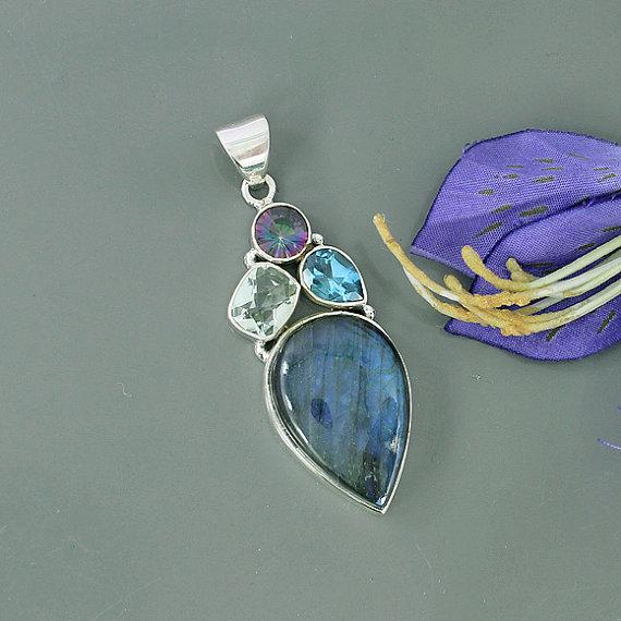 Genuine Labradorite, Midnight Rainbow Quartz & Blue Topaz Multi Gemstone 925 Sterling Silver Artisan Handmade Pendant, Unique Gift Jewelry
