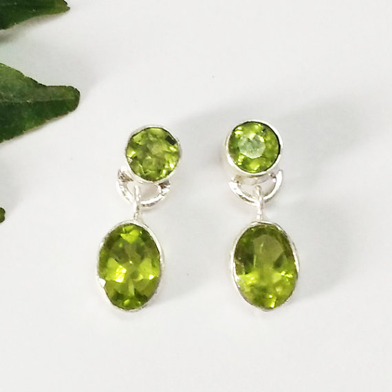Genuine NATURAL PERIDOT Gemstone Earrings - Birthstone Earrings - Fashion Beach Earrings - Handmade Earrings - Drop Earrings