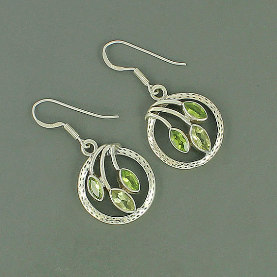 Genuine Peridot & Green Garnet Gemstone Earrings, 925 Sterling Silver Earrings, Women's Jewelry, September Birthstone Gift Earrings Jewelry