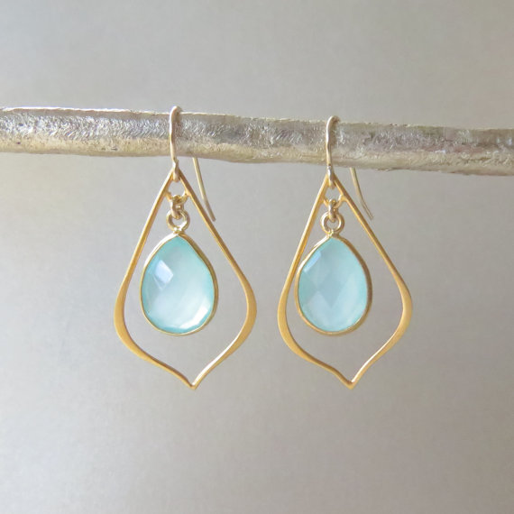 Gold Dangle Earrings with Aqua Chalcedony Drops