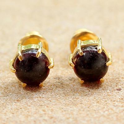 Gold Plated Garnet Stud Earrings