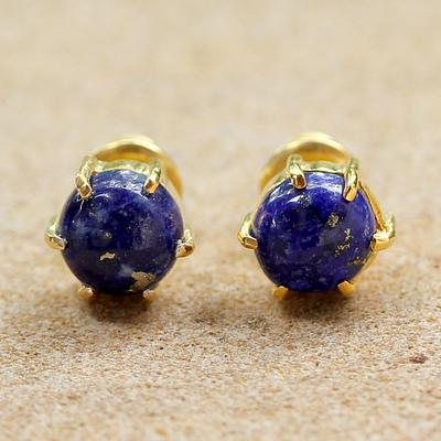 Gold Plated Lapis Lazuli Stud Earrings