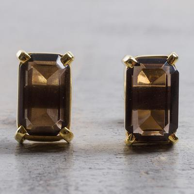 Gold Plated Silver Smoky Quartz Stud Earrings