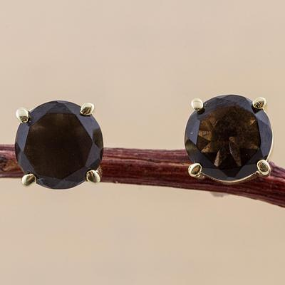 Gold Plated Sterling Silver Smoky Quartz Stud Earrings