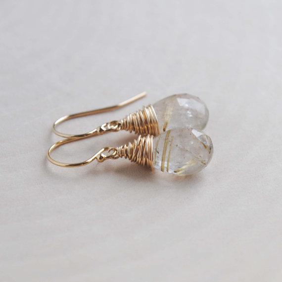 Golden Rutilated Quartz Earrings, Gold Drop Earrings, Gold Gemstone Earrings