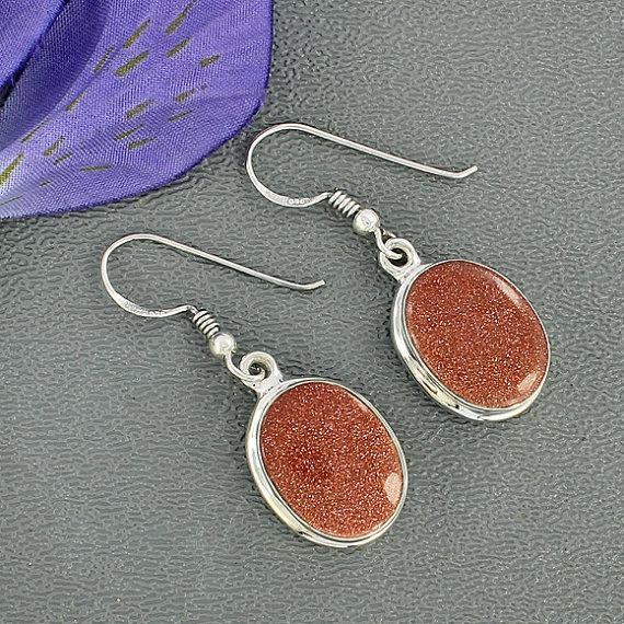 Goldstone Sun Sitara Earrings, Dangle Earrings, Solid Sterling Silver Jewelry, Red Sun Sitara Gemstone Earrings