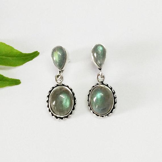Gorgeous FIRE LABRADORITE Gemstone Earrings - Birthstone Earrings - Fashion Beach Earrings - Handmade Earrings - Drop Earrings