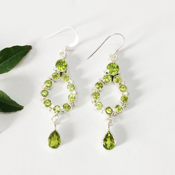 Gorgeous NATURAL PERIDOT Gemstone Earrings - Birthstone Earrings - Fashion Beach Earrings - Handmade Earrings - Dangle Earrings
