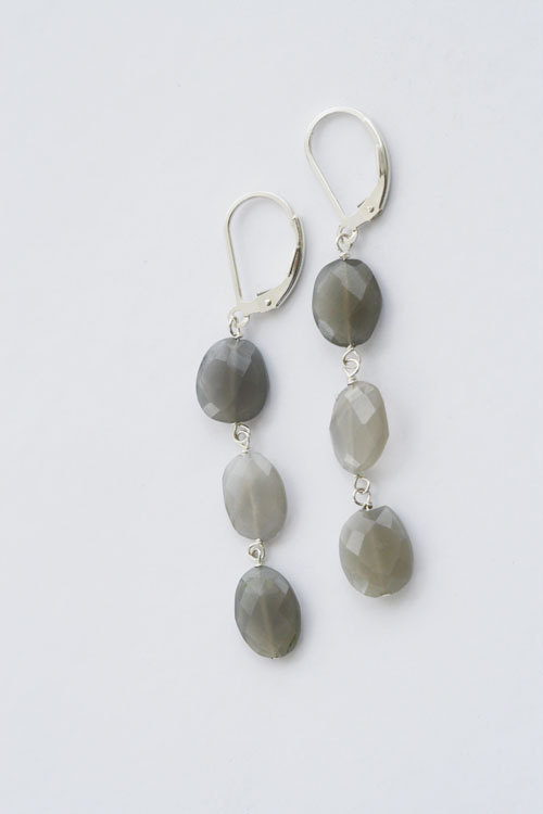 Gray Moonstone Earrings, Gray Gemstone Earrings, Gray Stone Earrings, Long Earrings, Gray Gemstone, Gray Moonstone, Semi Precious Stone