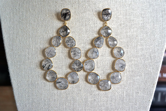 Gray Rutilated Gemstone Earrings