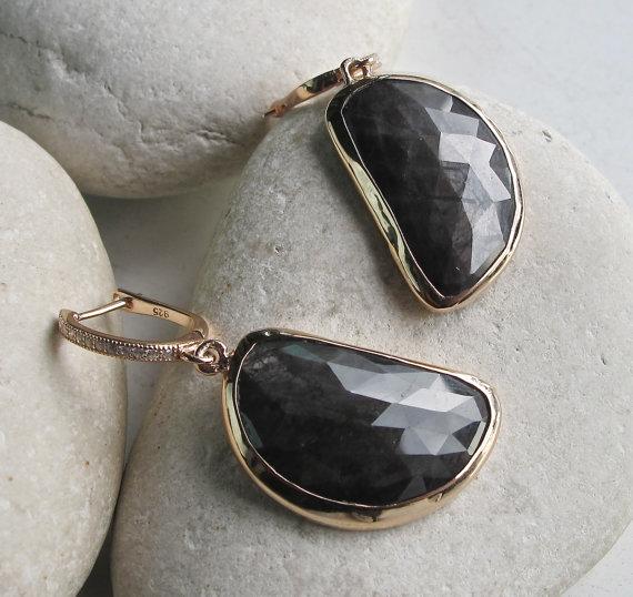 Gray Sapphire Earrings- Rose Gold Earring- Gifts for her- Sapphire Earrings- September Birthstone Earrings-Stone Earrings- Gems