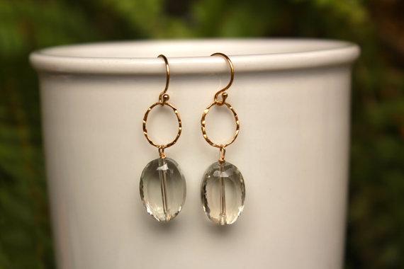 Green Amethyst Earrings, Gold Green Amethyst Earring, Simple Gemstone Earrings, Gold Fill, Sterling Silver, Dangle Earrings, Drop Earrings