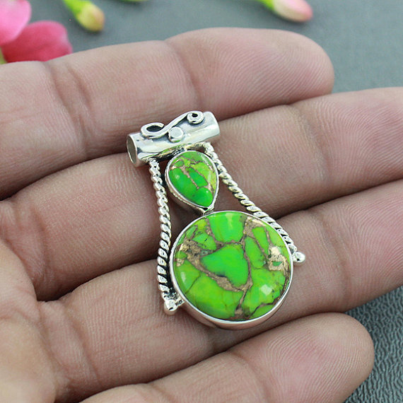 Green Copper Turquoise Pendant, Solid 925 Sterling Silver Jewelry, Bezel Set Pendant, Designer Pendant