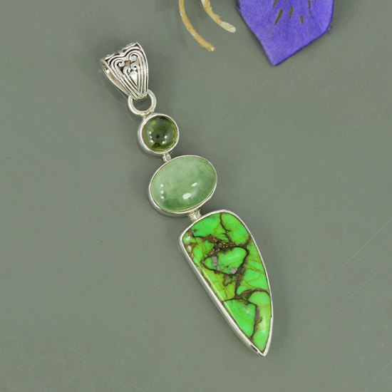 Green Copper Turquoise, Prehnite & Idocrase Gemstone 925 Sterling Silver Unique Gift Pendant Jewelry, Bezel Set Designer Pendant