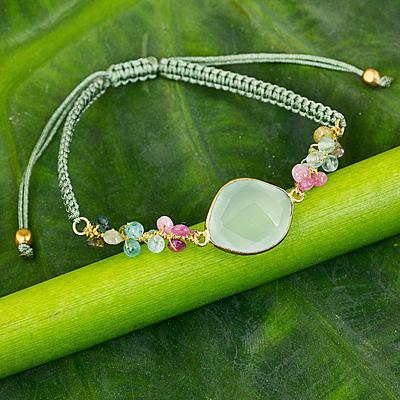 Green Multigem Pendant Macrame Beaded Sliding Knot Bracelet