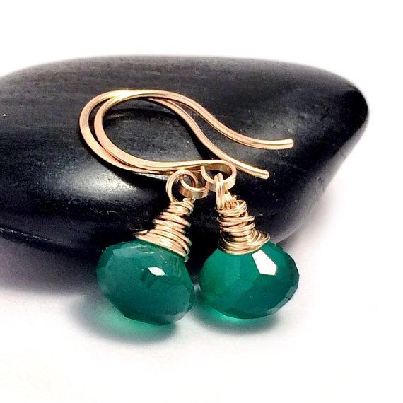 Green Onyx Gold Drop Earrings Gold Filled Emerald Green Gemstone Earrings Earrings UK