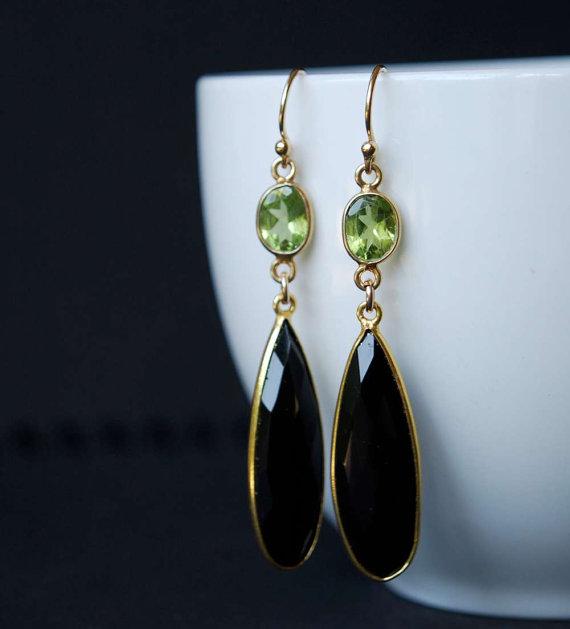 Green Peridot and Black Onyx Gemstone Earrings, 14K Gold Filled Peridot and Black Onyx Bezel Set Earrings