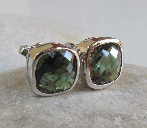 Green Quartz Earring- Green Studs- Green Earrings- Gemstone Earrings- Gemstone Studs- Square Shaped Earrings- Bezel Studs