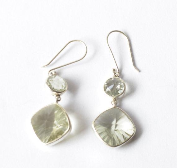 Green Quartz Earrings - Silver Earrings - Fine Earrings - Fine Jewelry - Gemstone Earrings - Unique Earrings - Green Quartz Jewelry