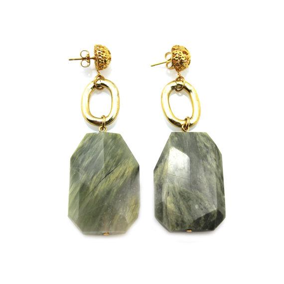 Green Statement Earrings, Gemstone Earrings, Gemstone Statement Earrings, Green Gemstone Earrings, Statement Green Earrings, Jasper Earrings