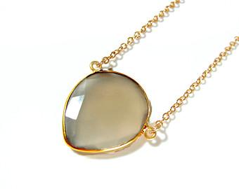 Grey Chalcedony Silver pendant