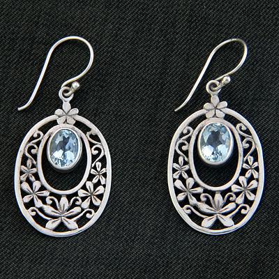 Hand Crafted Blue Topaz and Sterling Silver Dangle Earrings, 'Jasmine Raindrops'