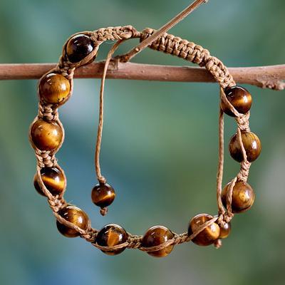 Hand Crafted Cotton Shambhala-style Tigers Eye Bracelet
