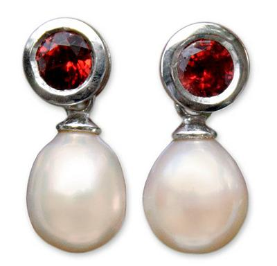 Hand Crafted Garnet and Cultured Pearl Earrings, 'Halo Light'
