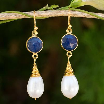Hand Crafted Gold Plated Earrings with Pearls and Sapphires, 'Midnight Moon