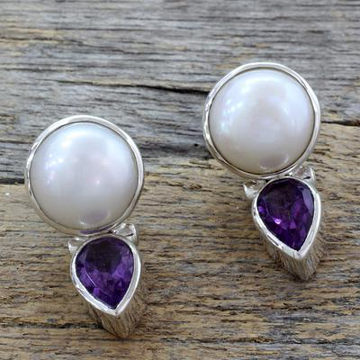 Hand Crafted Pearl and Amethyst Earrings from India, 'Flirting Moons'