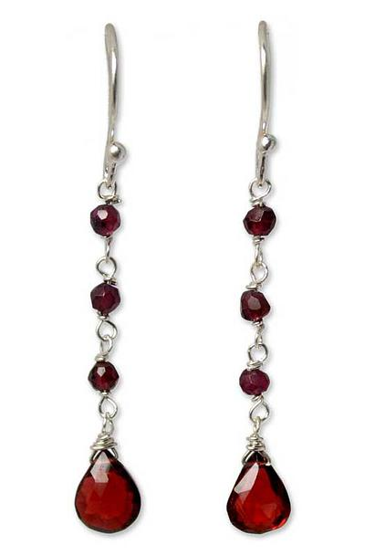 Hand Crafted Sterling Silver and Garnet Earrings, 'Lady'