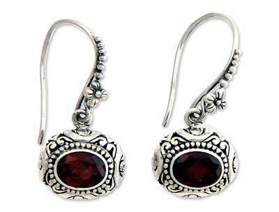Hand Made Floral Silver and Garnet Earrings, 'Soul of Jasmine'