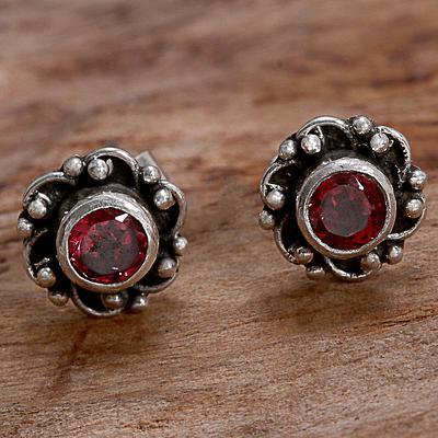 Garnet and Sterling Silver Flower Stud Earrings
